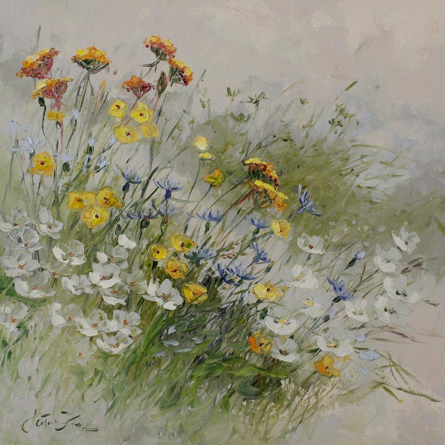 Kwiaty mgłą otulone