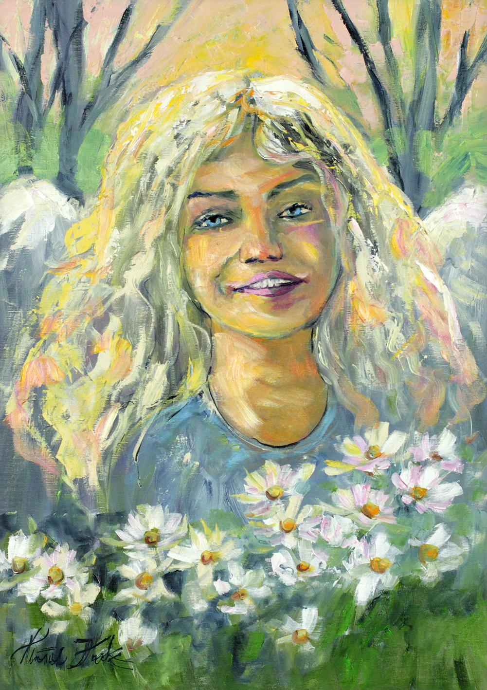 Anioł w rumiankach