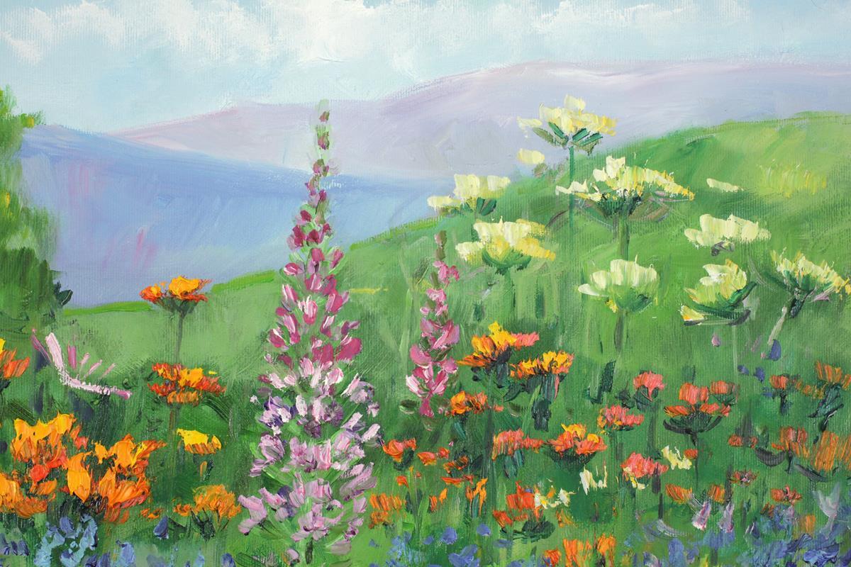 Pejzaż z kwiatami