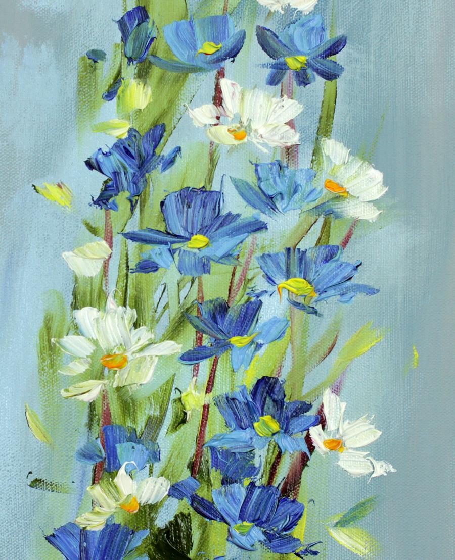 Biało niebieski bukiet